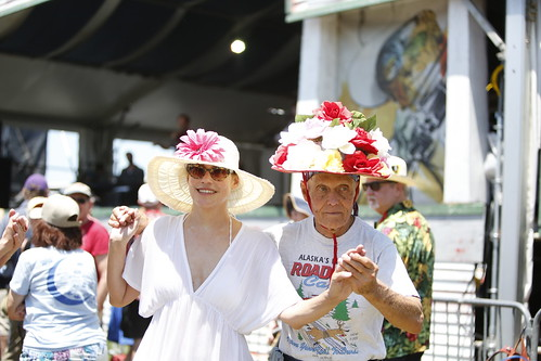 Hats on Day 3 of Jazz Fest - 4.29.18. Photo by Michele Goldfarb.
