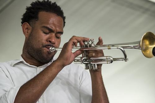 Joe Lastie's New Olreans Sound at Jazz Fest Day 7 on May 5, 2018. Photo by Ryan Hodgson-Rigsbee RHRphoto.com