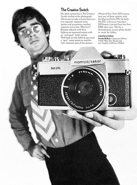 Mamiya/Sekor 500 DTL camera system advertisement.