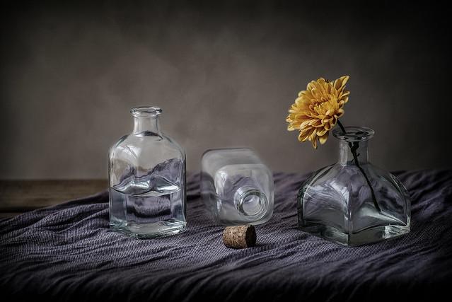 Frascos y flor