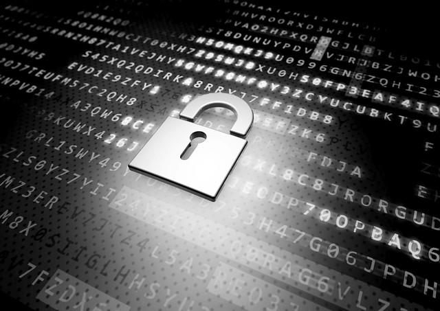 IT Security Schloss vor Crypto-Hintergrund - SW