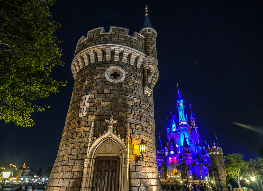 Castle turret night TDL