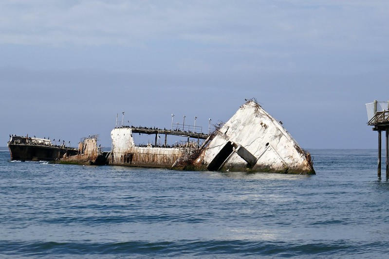 Current state (2018) of S.S. Palo Alto at the end of fishing pier, Seacliff State  Beach, Aptos