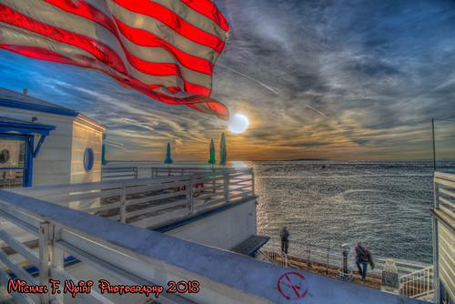 malibuca malibufishingpier california flags americanflag beach ocean sky sunrise
