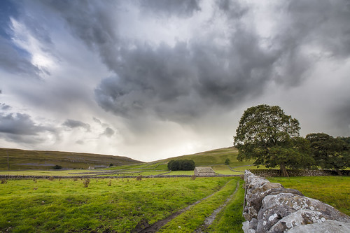 yorkshire dales yorkshiredales nationalpark uk unitedkingdom greatbritain europe england wall drystone grass fields clouds sky mountain mountains outdoors natur nature landschaft green barn tree scenic beauty canon canon5d eos landscape field track distagon1528ze carlzeiss