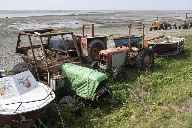 Shrimping tractors on Lytham beach, Lytham St Annes, Fylde, Lancashire, UK