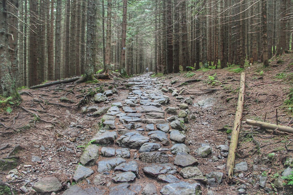 A steep hiking trail leading to the Giewont Peak in the Tatras.