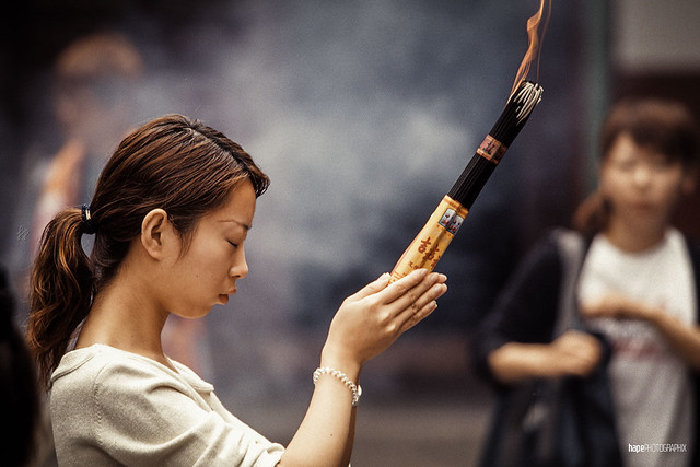 The girl with the incense sticks