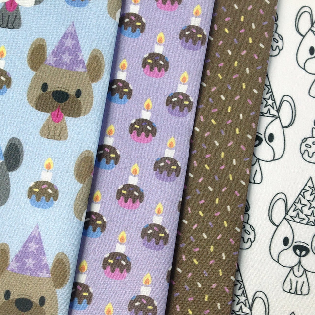 french bulldog birthday party fabric collection