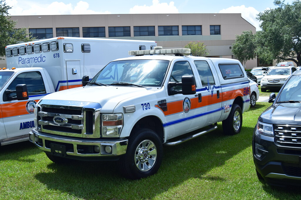 Lake County Fl EMS Ford F-350 rear attending the Kissimmee