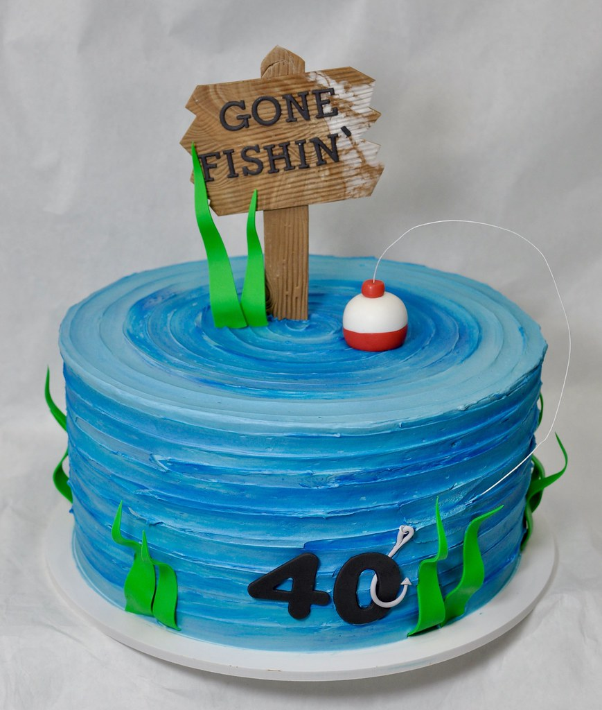 Enjoyable Gone Fishing 40Th Birthday Cake Jenny Wenny Flickr Personalised Birthday Cards Epsylily Jamesorg