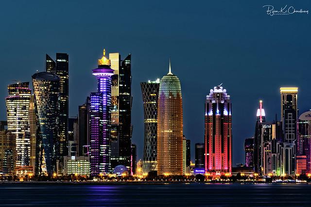 Doha Skyline at night ...