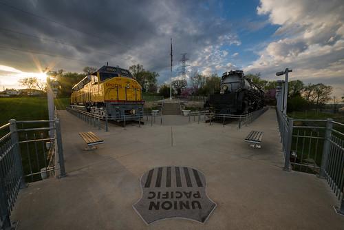 unionpacific railroad train uprr locomotive centennial bigboy kenefickpark omaha nebraska ne sunset goldenhour nikond800 sigma1224mmf4556ii