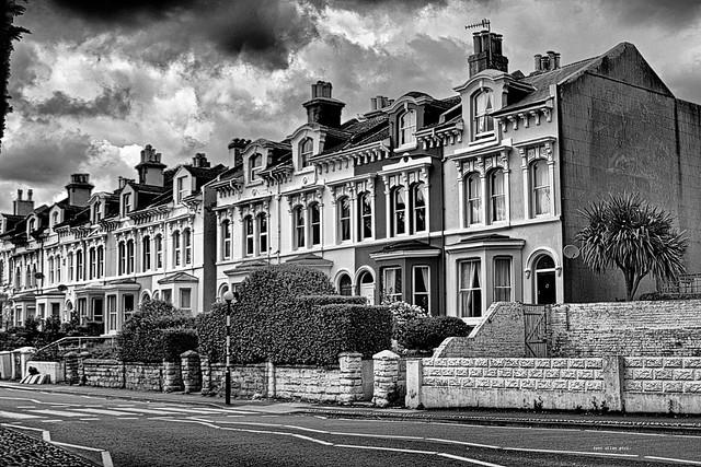 Dark clouds over St Helens Road, Hastings.