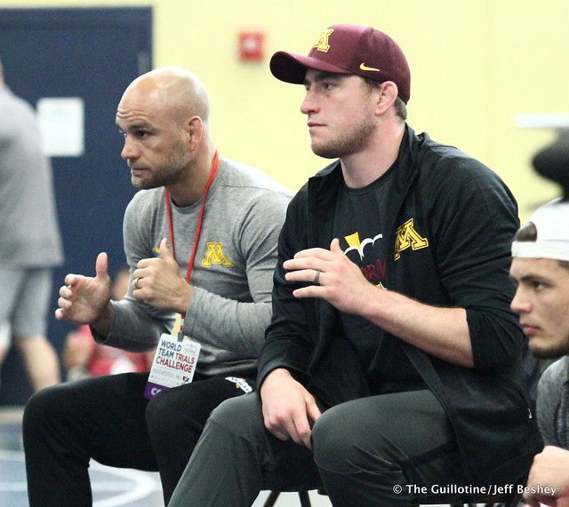 Gopher Coaches Luke Becker and Trevor Brandvold. 180518AJF0116