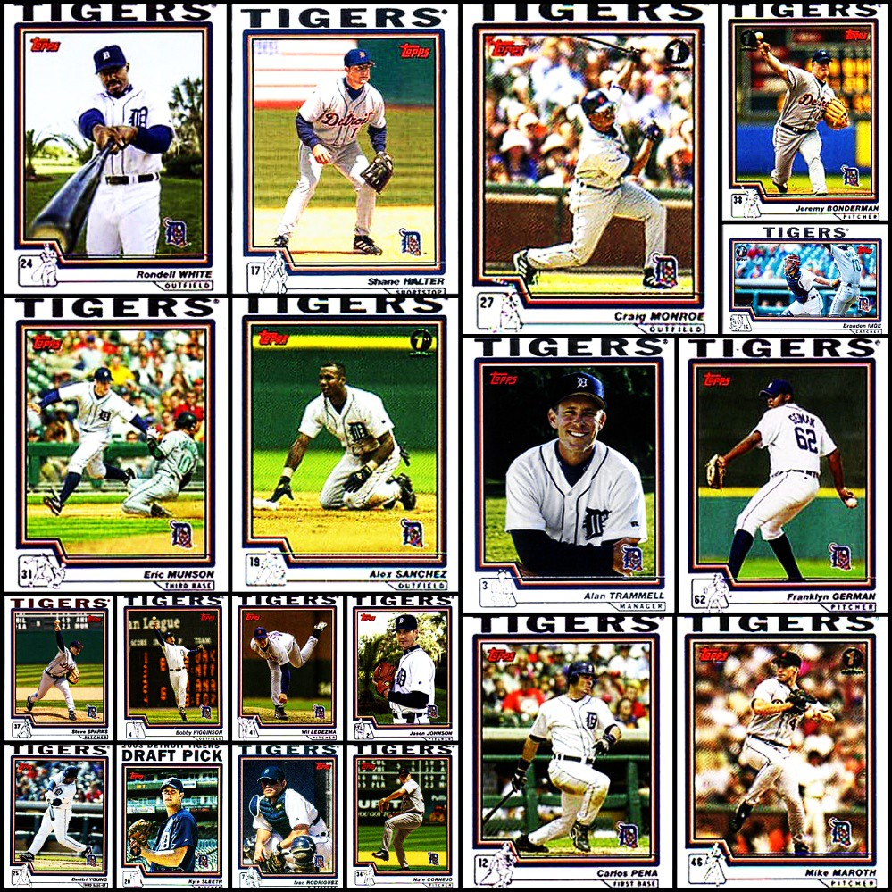 2004 Topps Detroit Tigers Topps Baseball Cards Collage