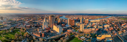 hartford connecticut unitedstates us panorama sunset spring city overlook dji spark drone droneshot dronephotography fromabove newengland ct