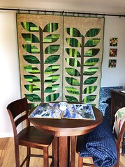 """My quilted barn doors.  Pattern by Sew Kind of Wonderful.  Two quilts to cover a 58"""" opening into my dining area"""