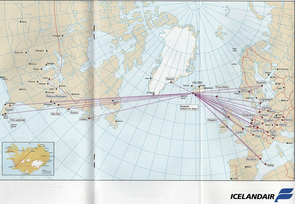 Icelandair route map, 1996 | The Icelandair route map from s ... on republic airways holdings route map, south african airways route map, tacv route map, lot polish route map, new jersey transit route map, xtra airways route map, delta airlines 757 seat map, jfk airtrain route map, jetblue route map, biman route map, florida route map, xl airways route map, flying tiger line route map, union pacific railroad route map, volaris route map, airline route map, casino express route map, tame route map,