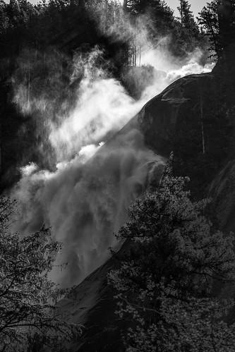 squamish britishcolumbia canada ca shannon falls bc waterfall black white sun beam tree