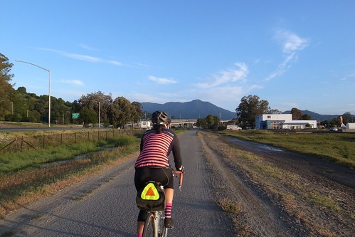 Woohoo! I get to ride with Angela for a bit, with Mount Tam smiling down on us