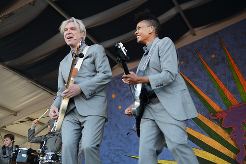 David Byrne on Day 3 of Jazz Fest - April 29, 2018. Photo by Leon Morris.