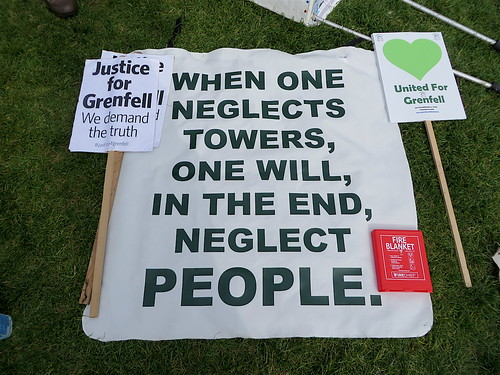 A message at the Grenfell protest outside Parliament, May 14, 2018