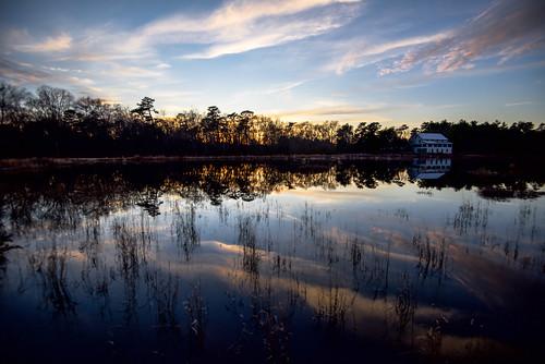 doubletroublepark doubletrouble berkeleynj reflection sunset lake water sky horizon park wetreflections