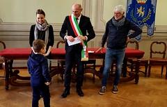 SINDACO, ASSESSORA E PRESIDENTE  CON BAMBINI SCUOLA MATERNA PIANETA MONELLO 16 APRILE 2018 Foto A. Artusa