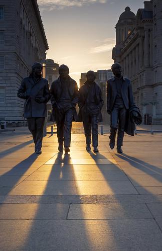 thebeatles thebeatlesstatue liverpool pierhead fujifilmxt1 fujifilm1855mm sunrise city statue