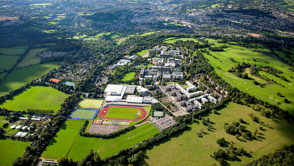 Aerial view of University of Bath campus
