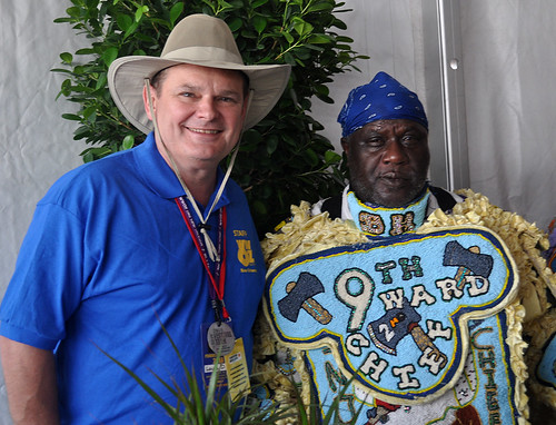 9th Ward Black Hatchets in the Hospitality Tent with Louis Dudousstat of WWOZ