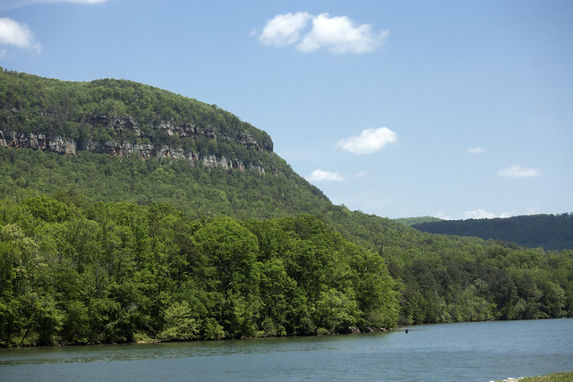 Sandstone cliffs above the Tennessee River, Raccoon Mountain, Marion County, Tennessee