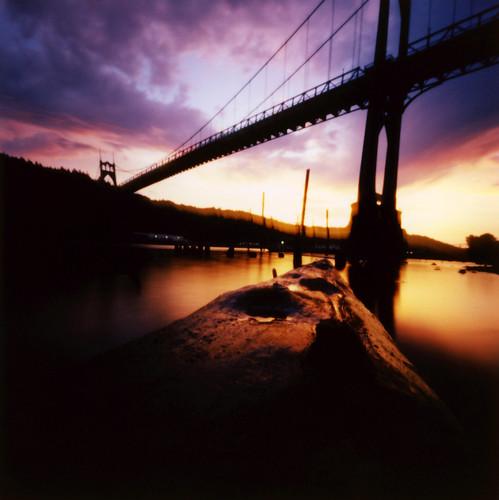 sunset oregon square portland bridges pinhole pacificnorthwest zeroimage zero66 bluemooncamera zebandrews zebandrewsphotography
