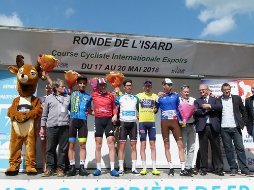 Siarhei Shauchenka (Team Cycliste Azuréen), Gage Hecht (Équipe nationale des U.S.A.), Joao Almeida (Équipe nationale du Portugal), Stephen Williams (SEG Racing Academy), Aurélien Paret-Peintre (Chambéry CF (photo: Claude Augé / Ronde de l'Isard)) | by Ronde de l'Isard
