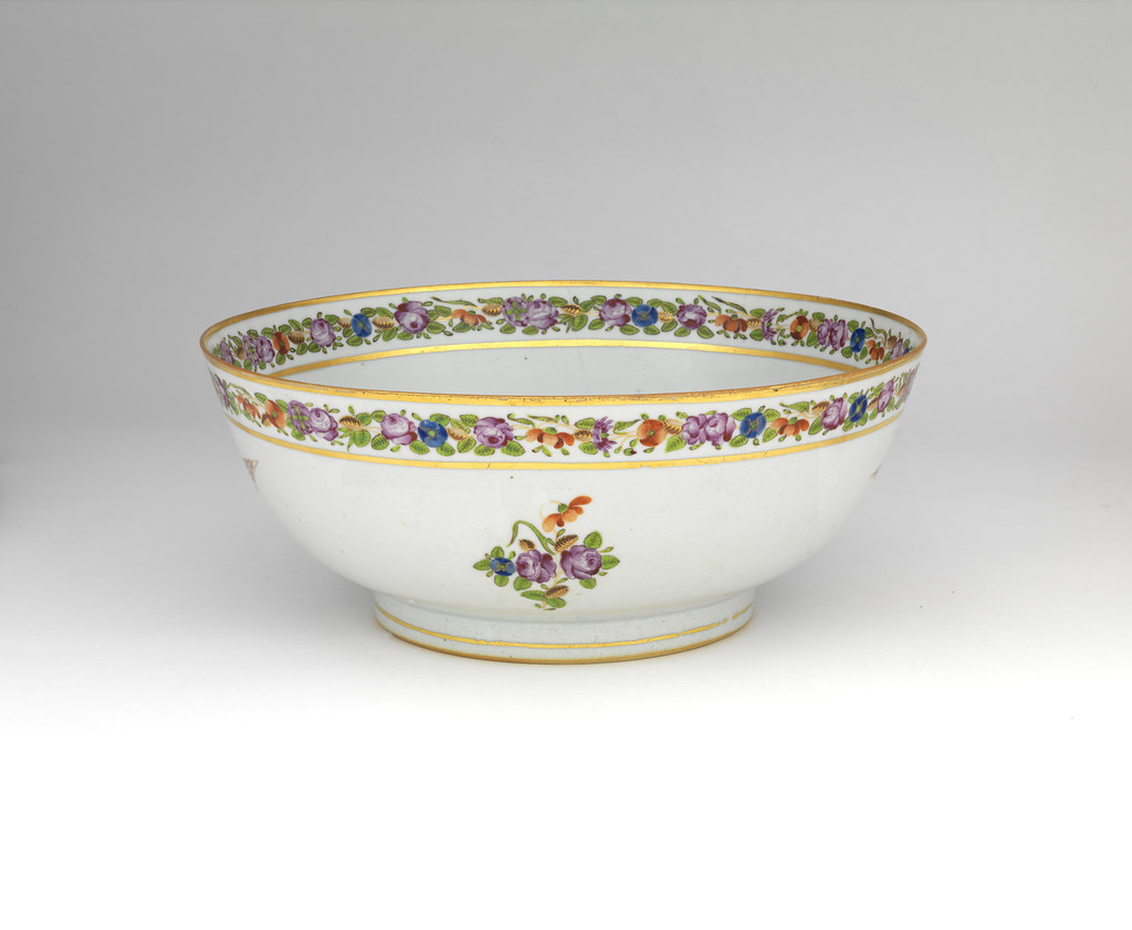 Chinese Export Porcelain Punch Bowl Made for the American Market