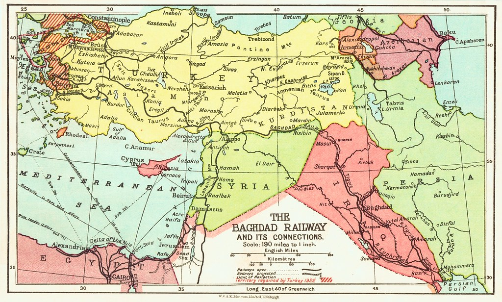 Iraq Railways - The Baghdad Railway (1922 map) | A color map… | Flickr