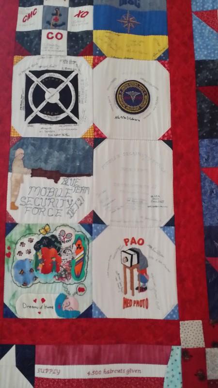 Signature blocks on quilt at WIMSA