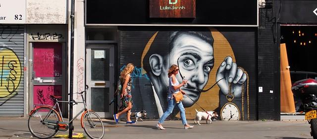 Dog walkers, Spitalfields, Shoreditch, London E2 ..