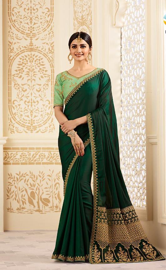 449796a6d7657d ... Dark Green Silk Saree with Very Elegant Border_aditya_closet   by  adityacloset