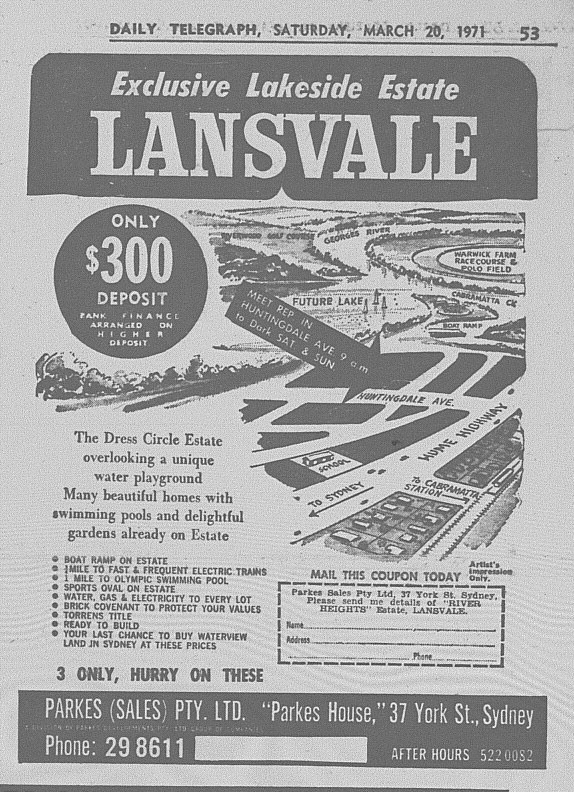Lakeside Estate Lansvale Ad March 20 1971 daily telegraph 53