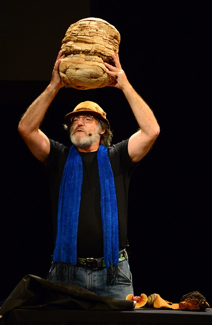 Paul Stamets holding an Agarikon (Laricifomes officinalis) mushroom at CIIS talk, Herbst Theater, San Francisco, California
