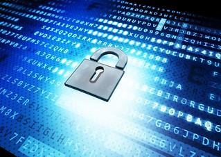 IT Security Schloss vor Crypto-Hintergrund - grau - Kontrast | by Christoph Scholz