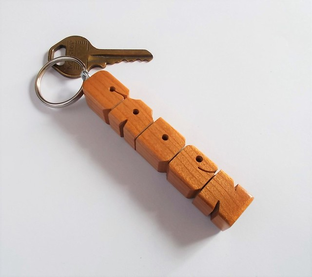 Name Keychain in Cherry Wood