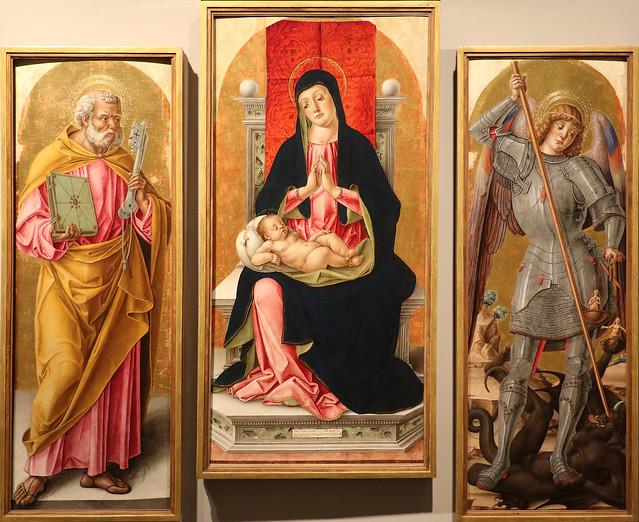 Bartolomeo Vivarini (Murano, Venezia, 1430 circa - post 1491) - Madonna in trono col Bambino (Polittico di Scanzo) -1488