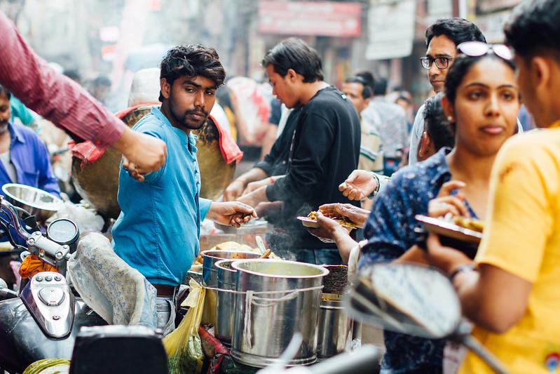 Busy Street Food Vendor, Delhi India
