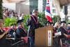 The University of Hawaii at Hilo celebrated spring 2018 commencement on Saturday, May 12, 2018 at the Edith Kanakaole Stadium. Keynote speaker Henk Rogers. Photo credit: Everette Ganir