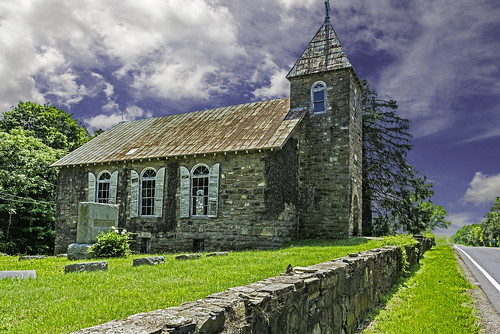 2018yip d7100 church oldbuilding stonearchitecture stonewall stonebuilding gothic woodenshutters historic abandoned virginia clouds landscape colorphotography tacphotography tomclarknet 1000views