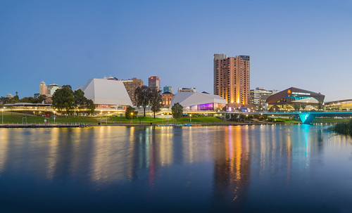 adelaide adelaidecbd adelaideparklands cbd downtown water river torrens reflection reflect night dark sunset sundown bluehour longexposure olympusem10 olympus olympusomd microfourthirds lumix southaustralia sa australia symmetry blue dusk panorama panoramic