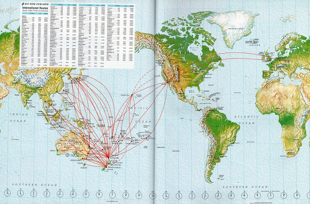 Airline Maps — Air New Zealand routes, 1996 The Air New ...